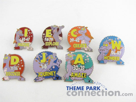 Epcot Parking Lot Signs FIGMENT 7 Pin Cast Lanyard Set