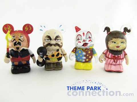 "Disney 3"" Vinylmation UNDER THE BIG TOP Circus Fire Eater Strong Man Clown Bearded Lady 4 Figure Lot"