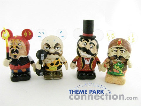 "Disney 3"" Vinylmation UNDER THE BIG TOP Circus Ringmaster Snake Charmer Fire Eater Strong Man 4 Figure Lot"