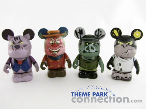 "Disney 3"" Vinylmation VILLAINS Fat Cat Coachman Goon Dr. Frankenollie 4 Figure Lot"