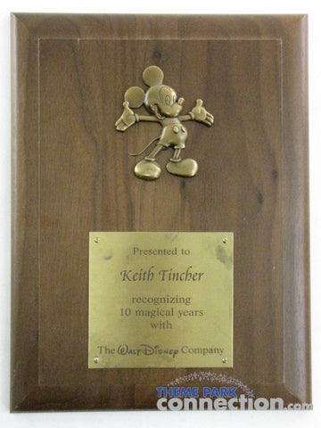 Disney Cast Member Exclusive 10 Year Service Award Ta-Da Mickey Mouse Wood Plaque