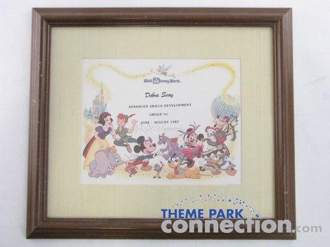 Walt Disney World Epcot Vintage 1987 Mickey Mouse FIGMENT Tinker Bell 12 Character Cast Member Award Certificate