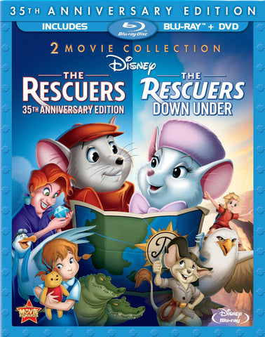Disney THE RESCUERS & THE RESCUERS DOWN UNDER 35th Anniversary 3 Disc Blu-ray & DVD Set