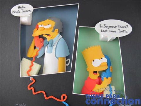 The Simpsons LE 375 Tim West SIGNED Bart & Moe Crank Call 3-D Sculpture Art