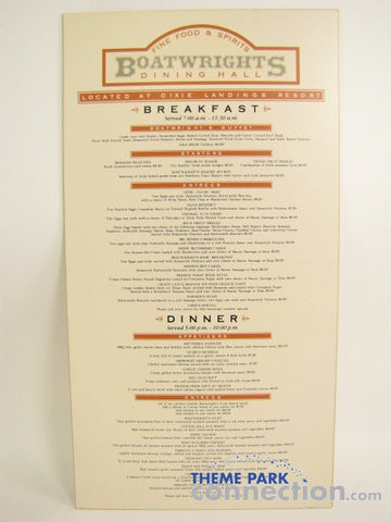 Disney World Authentic Boatwright's Port Orleans Restaurant Menu Sign Prop