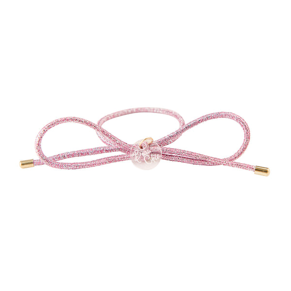 Bow Elastic Hair Tie//Pink Sparkle