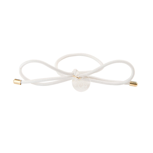 Bow Elastic Hair Tie//White