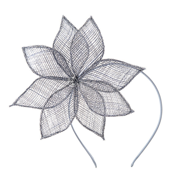 The Sinamay Lily Hairband//Metallic Silver