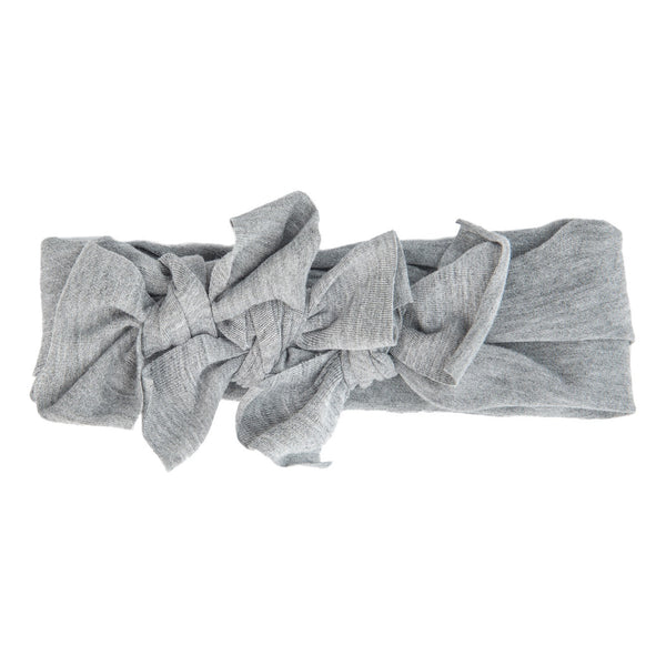 Bow Cluster Headwrap//Light Heather Grey