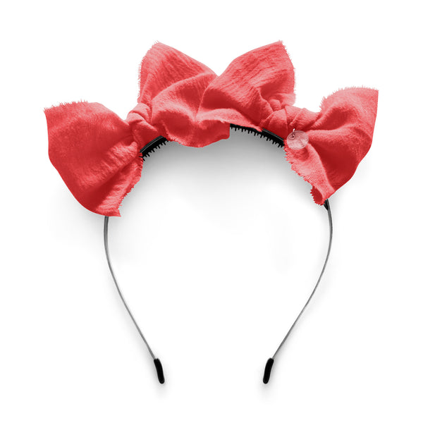 Double Bow Headband//Bright Coral