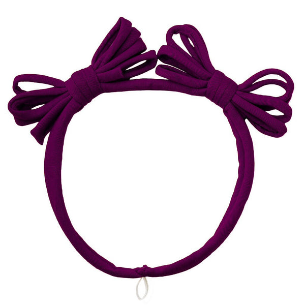 Jersey Loopy Bows Headwrap//Plum