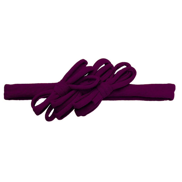 Triple Loopy Bow Headwrap//Plum