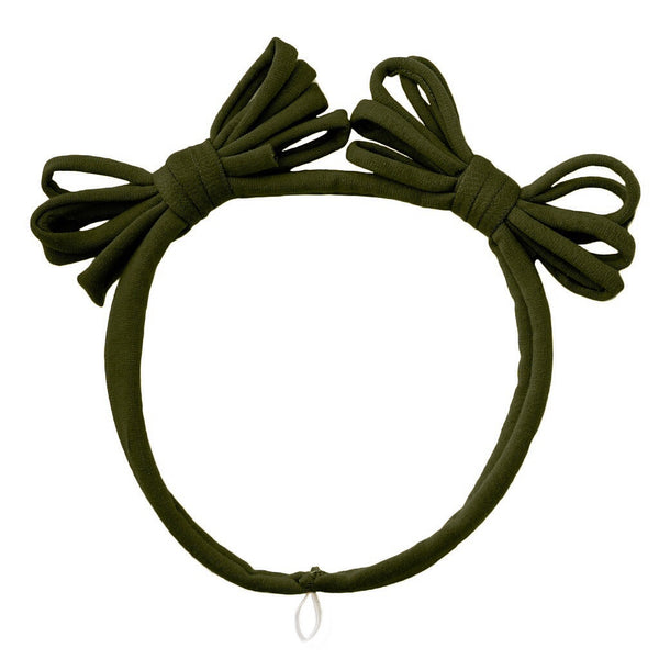 Jersey Loopy Bows headwrap//Dark Olive
