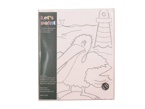 PinkMontesori Pelican Canvas - Acrylic Painting Set with Brushes Kids Craft - Pink Montessori Montessori Material for sale @ pinkmontessori.com - 1