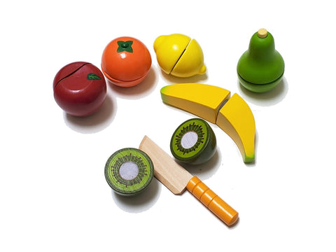 Wooden Kitchen Play Food Set with Knife -Fresh Vegetable/Fruit