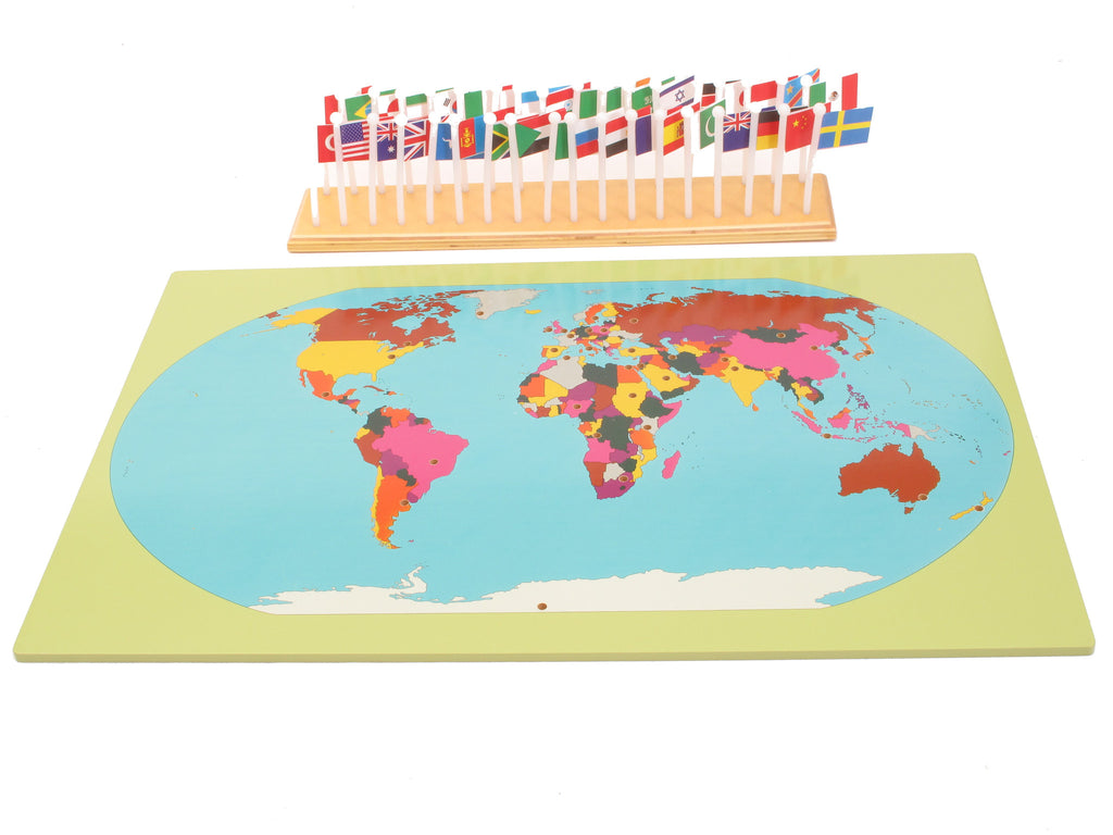 PinkMontesori World Map, Flags and a Stand - Pink Montessori Montessori Material for sale @ pinkmontessori.com - 1