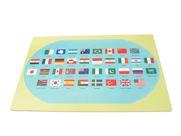 Montessori Material World Map Flags And A Stand Pink