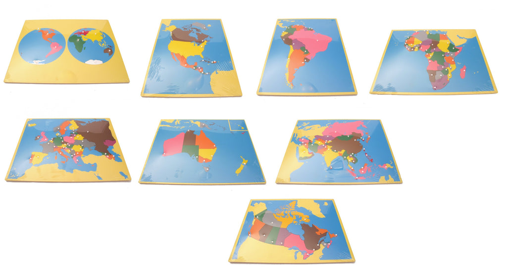 PinkMontesori Large Puzzle Map Package 2 (with CANADA) - Set of 8 Large Puzzle Maps - Pink Montessori Montessori Material for sale @ pinkmontessori.com - 1