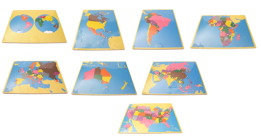 PinkMontesori Large Puzzle Map Package 1 (with USA) - Set of 8 Large Puzzle Maps - Pink Montessori Montessori Material for sale @ pinkmontessori.com - 1