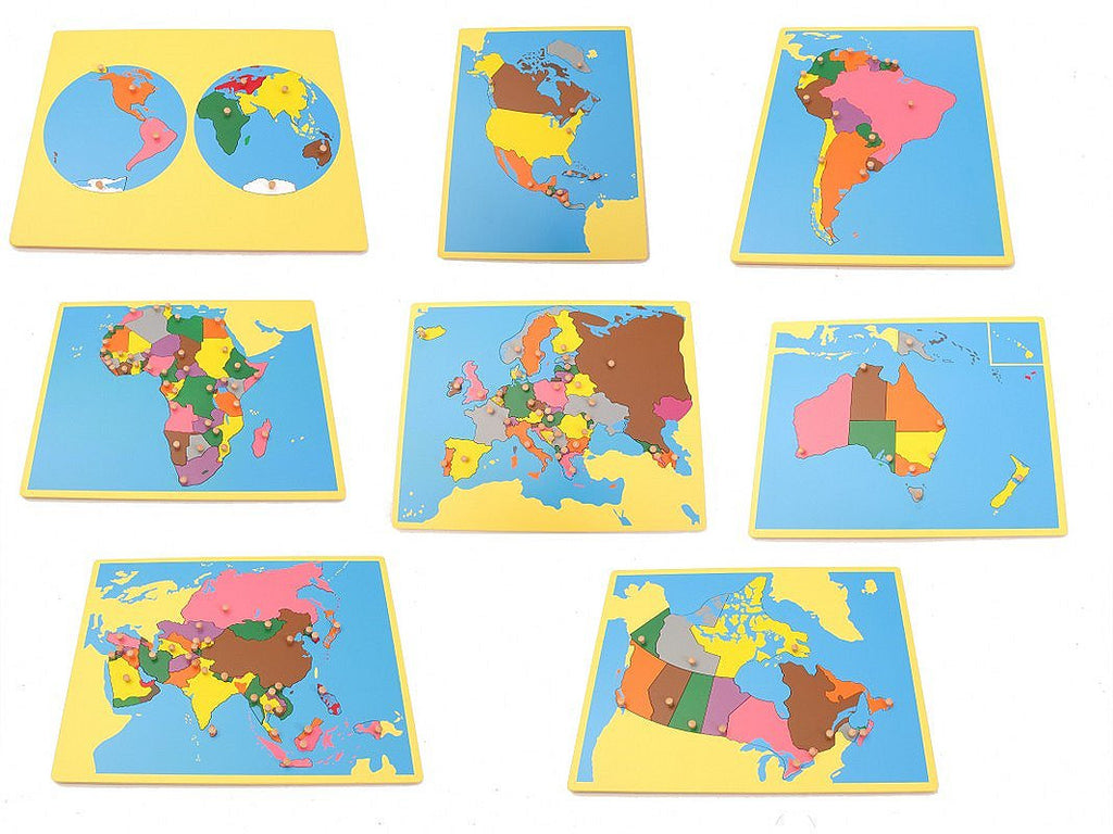 PinkMontesori Board Map Package 2 - Set of 8 Small Board Maps (Include Canada) - Pink Montessori Montessori Material for sale @ pinkmontessori.com
