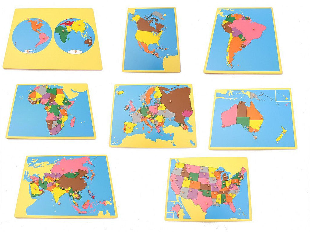 PinkMontesori Board Map Package 1 - Set of 8 Small Board Maps (USA) - Pink Montessori Montessori Material for sale @ pinkmontessori.com