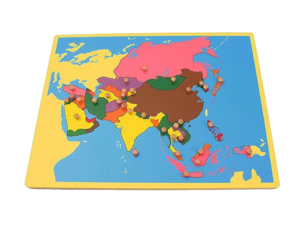 PinkMontesori Small Board Map of Asia - Pink Montessori Montessori Material for sale @ pinkmontessori.com