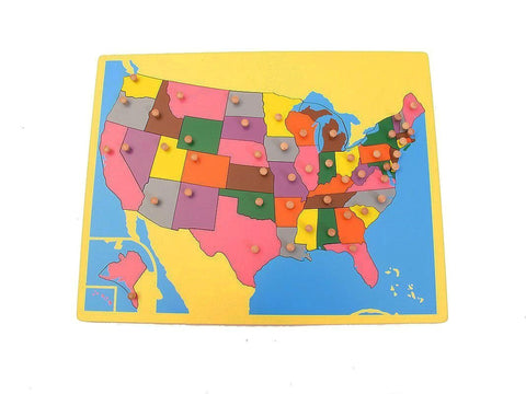 PinkMontesori Small Board Map of USA - Pink Montessori Montessori Material for sale @ pinkmontessori.com