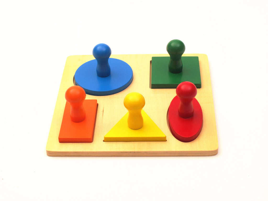 Geometric Shape Peg Board with Large Knobs
