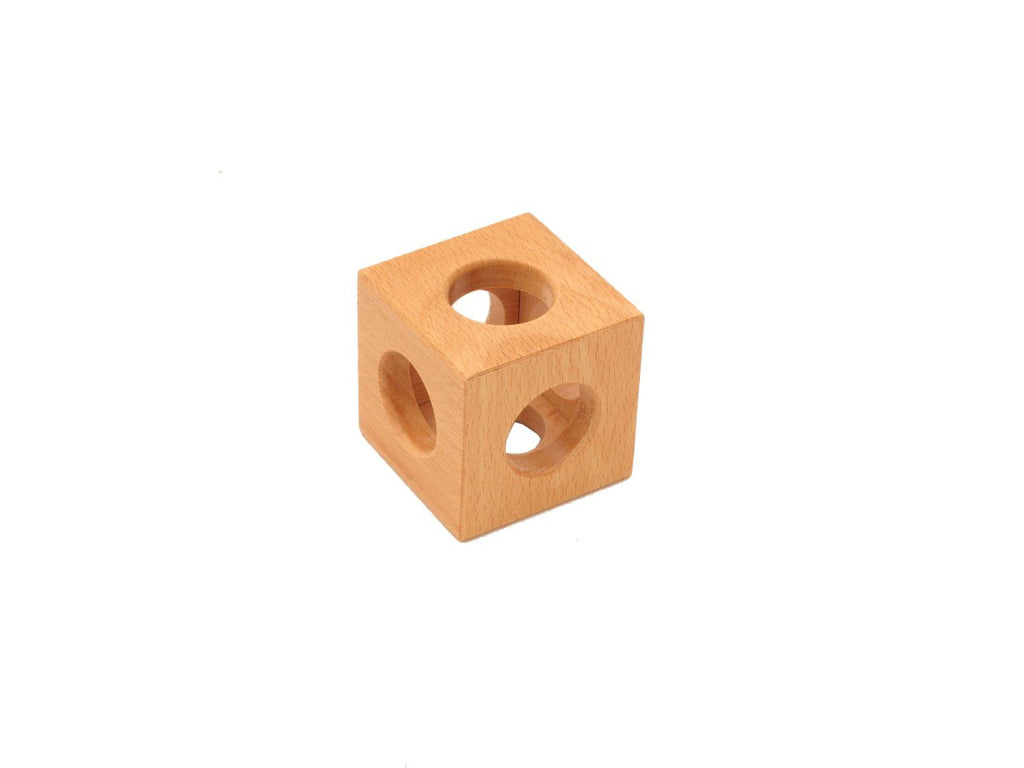 PinkMontesori Natural Baby Finger Grasping Toy - Hollow Cube - Pink Montessori Montessori Material for sale @ pinkmontessori.com
