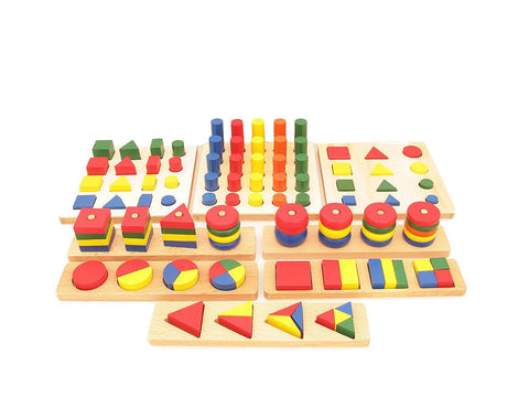 Family Set - Assorted Wooden Building Blocks and Puzzles Package (8 items)