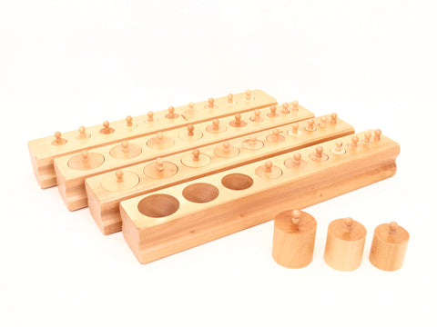 PinkMontesori Knobbed Cylinder Blocks - Pink Montessori Montessori Material for sale @ pinkmontessori.com