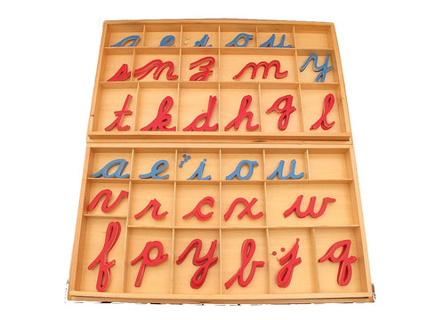 PinkMontesori Large Movable Alphabets ( Cursive ) with Boxes - Pink Montessori Montessori Material for sale @ pinkmontessori.com - 1