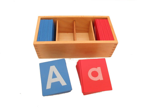 PinkMontesori Little Red and Blue Sandpaper Letters in Boxes - Pink Montessori Montessori Material for sale @ pinkmontessori.com - 1