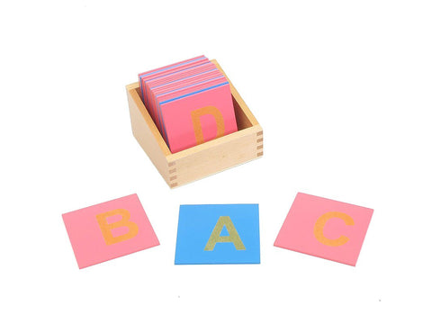 PinkMontesori Sandpaper Capital Letters on Reduced Board - Pink Montessori Montessori Material for sale @ pinkmontessori.com - 1