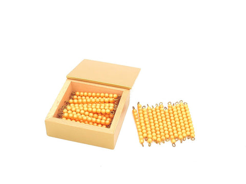 45 Golden Bead Bars of Ten with Box (new)