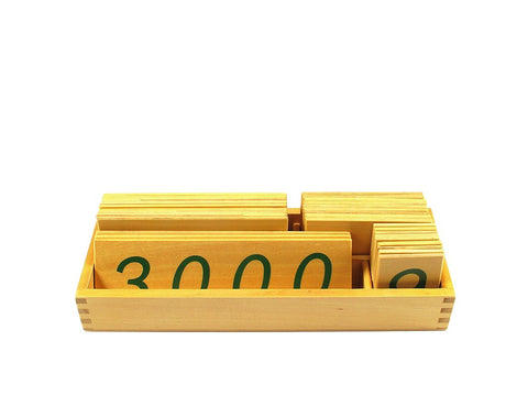 PinkMontesori Small Wooden Number Cards 1-3000 - Pink Montessori Montessori Material for sale @ pinkmontessori.com