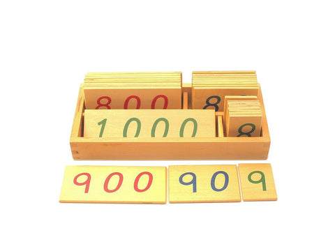 PinkMontesori Small Wooden Number Cards 1-1000 - Pink Montessori Montessori Material for sale @ pinkmontessori.com - 1