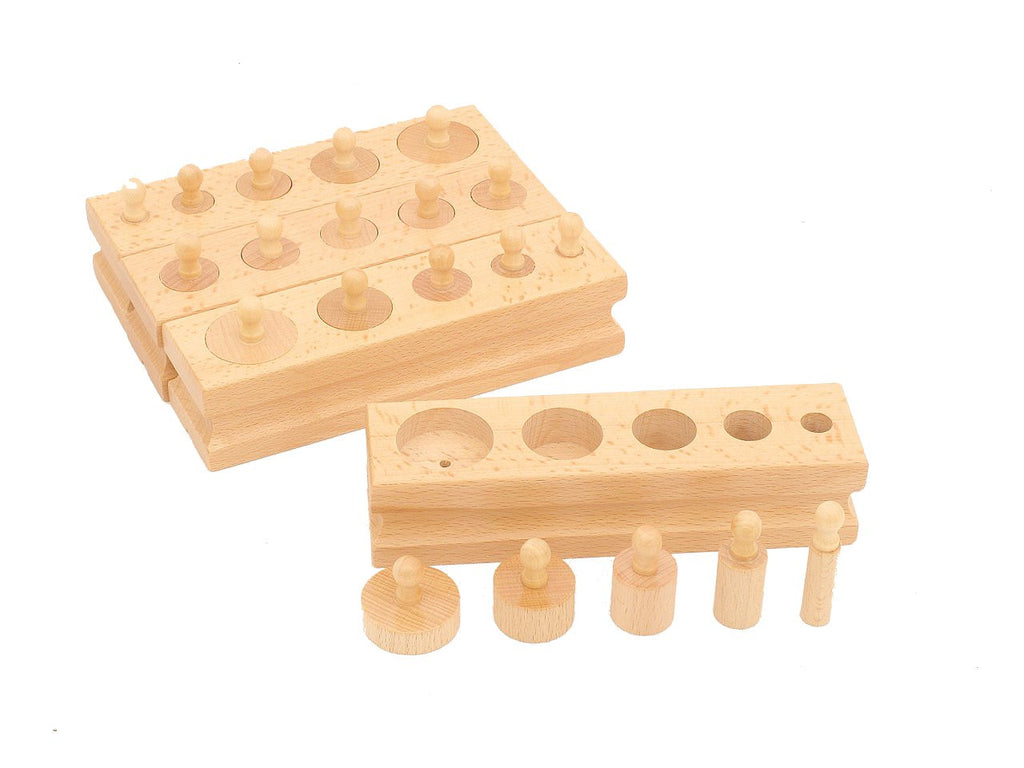 PinkMontesori Family Set - Mini Knobbed Cylinders - Pink Montessori Montessori Material for sale @ pinkmontessori.com - 1