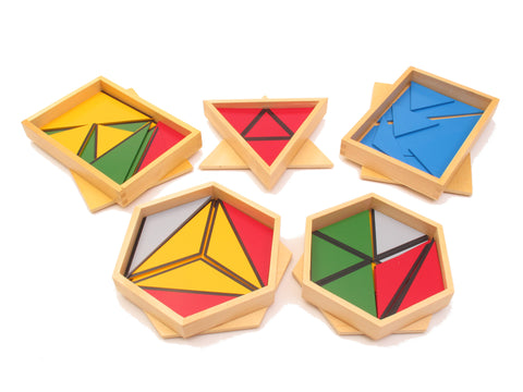 PinkMontesori Family Set - Mini Constructive Triangles - 5 Boxes - Pink Montessori Montessori Material for sale @ pinkmontessori.com - 1