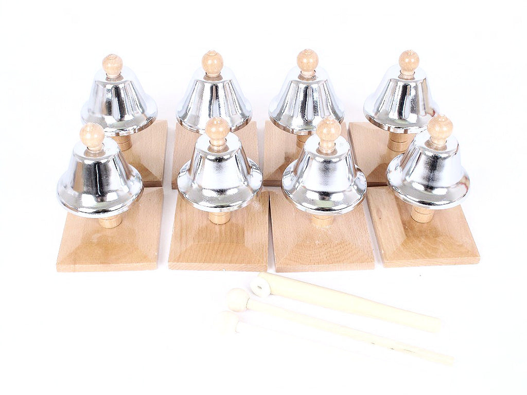 PinkMontesori Set of 8 Brown Bells ( Pitch Clock) - Pink Montessori Montessori Material for sale @ pinkmontessori.com