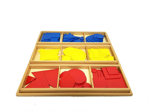 PinkMontesori Circles, Squares and Triangles in Wood - Pink Montessori Montessori Material for sale @ pinkmontessori.com - 1