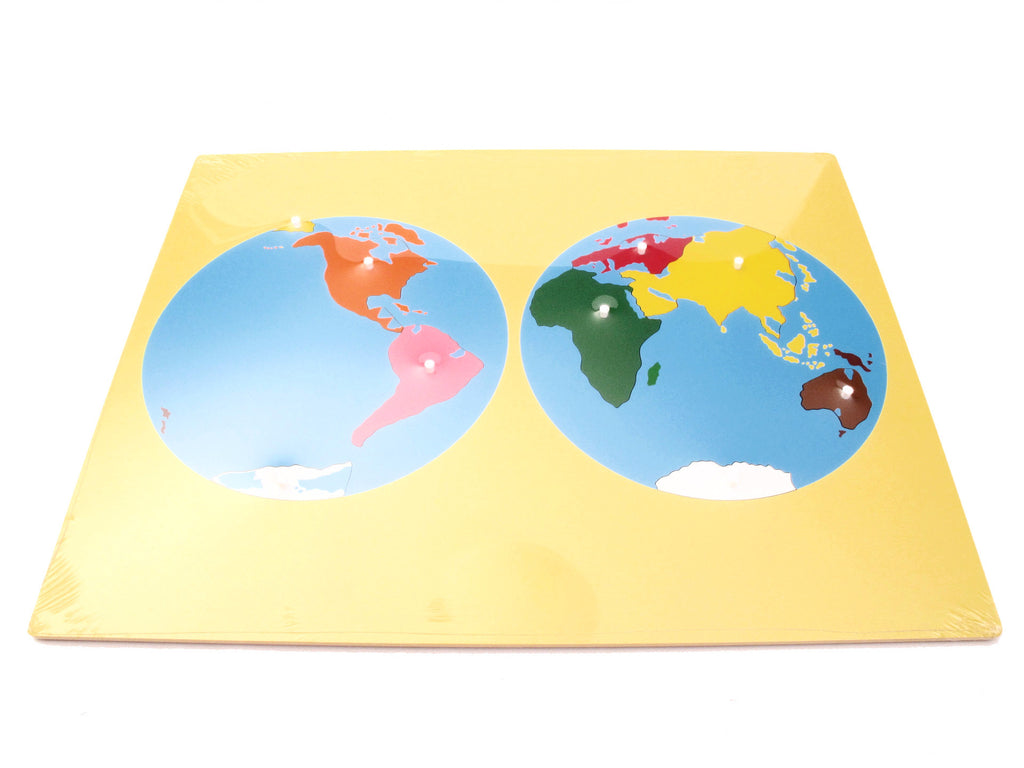 PinkMontesori Puzzle Map of World Parts - Pink Montessori Montessori Material for sale @ pinkmontessori.com