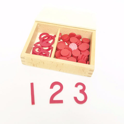 PinkMontesori Cut-Out Numerals & Counters - Pink Montessori Montessori Material for sale @ pinkmontessori.com