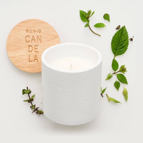 the MUNIO - Peppermint Candle in White Ceramic Votive - shop now at be pure
