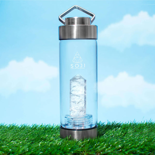 SOJI ENERGY - Clear Quartz Crystal Elixir Water Bottle - shop now at be pure