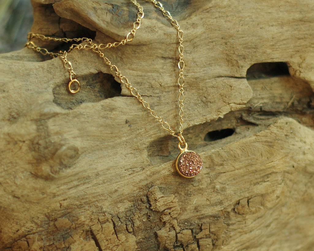 Rose Gold Druzzy Necklace - shop now at be pure