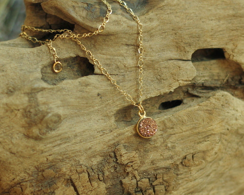Rose Gold Druzzy Necklace - be pure beauty