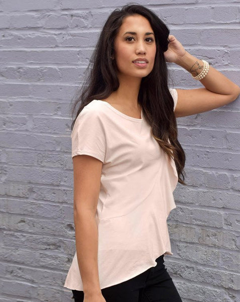 KRISTINA Ruffle Tee - Petal Pink - shop now at be pure