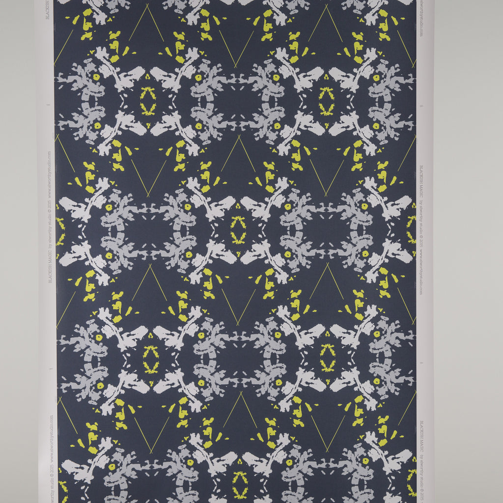 eco friendly navy white chartreuse wallpaper made in usa