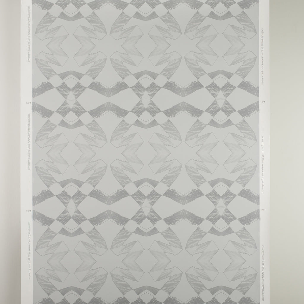 eco friendly gray geometric wallpaper Lucina by elworhty studio printed in usa by